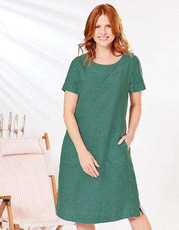 Deerberg Leinen-Kleid Maxime jaspisgrün