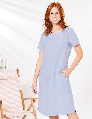 Deerberg Leinen-Kleid Maxime himmelblau