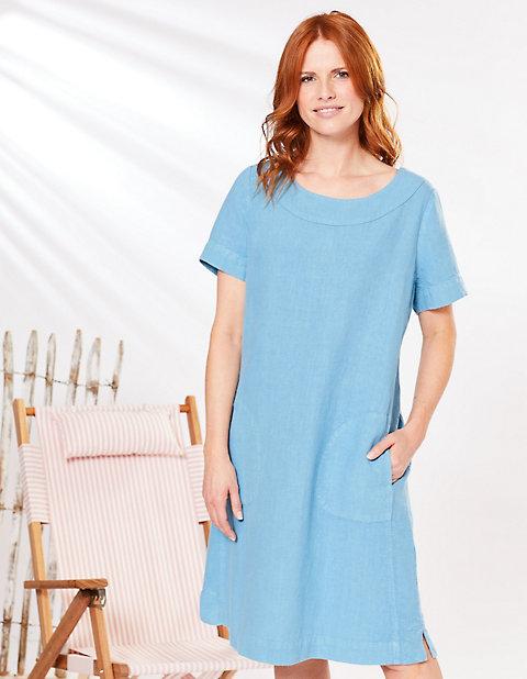 Kleider - Deerberg Leinen Kleid Maxime – karibikblau  - Onlineshop Deerberg