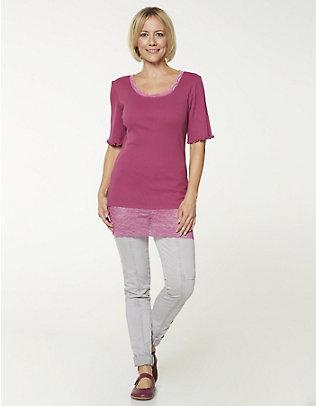 Deerberg Jersey-Long-T-Shirt Mena dunkelmagenta