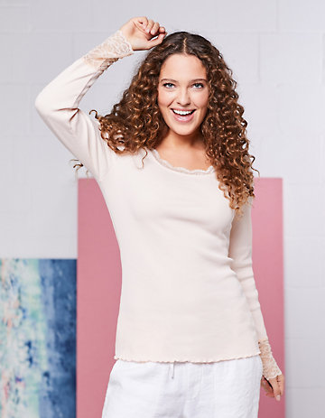 Deerberg Jersey-Shirt, langarm Bala pastellrosa