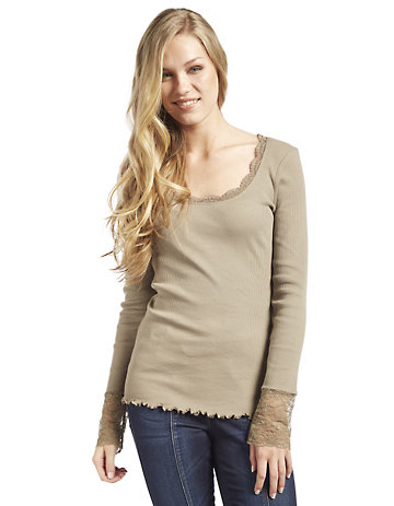 Deerberg Jersey-Shirt, langarm Bala sandstein