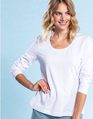 Deerberg Jersey-Shirt, langarm Maje weiß