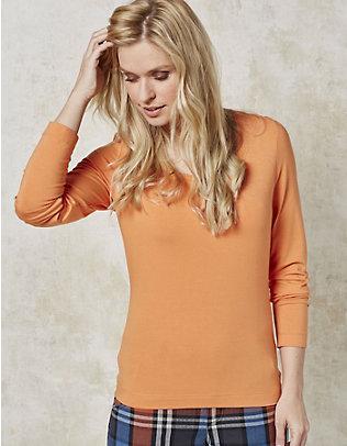 Deerberg Jersey-Shirt, langarm Maje blassorange