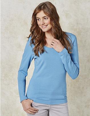 Deerberg Jersey-Shirt, langarm Maje topasblau