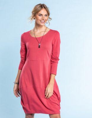 Deerberg Jersey-Kleid Prisca nelkenrot-geringelt