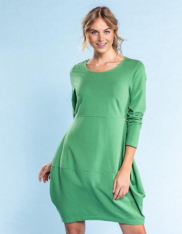 Deerberg Jersey-Kleid Prisca grasgrün-geringelt