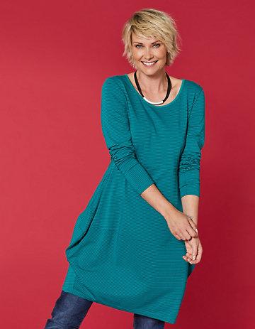 Deerberg Jersey-Kleid Prisca mittelpetrol-geringelt