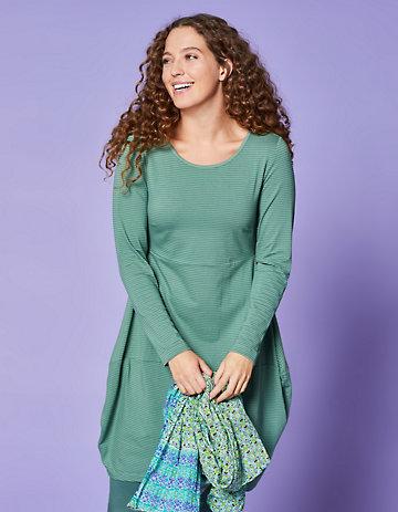 Deerberg Jersey-Kleid Prisca algengrün-geringelt