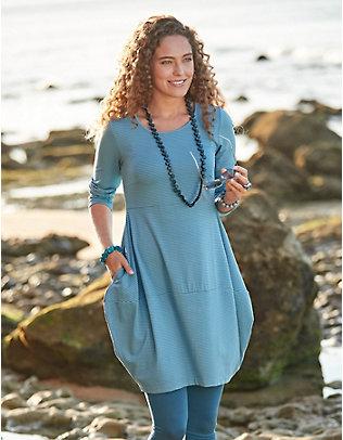 Deerberg Jersey-Kleid Prisca zinnblau-geringelt