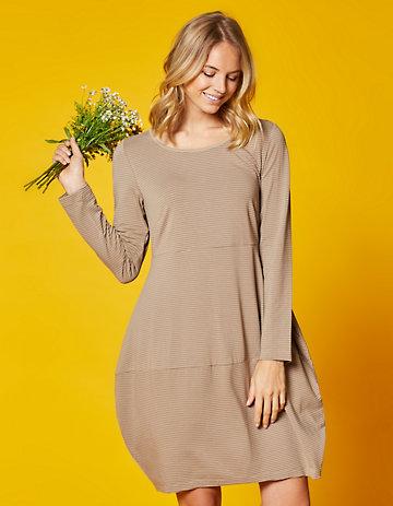 Deerberg Jersey-Kleid Prisca taupe-geringelt
