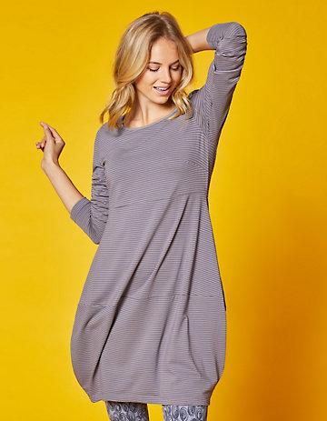 Deerberg Jersey-Kleid Prisca schiefergrau-geringelt