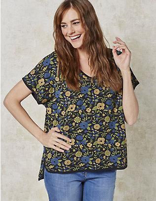 Deerberg Jersey-Oversized-Shirt Fjella schwarz-bedruckt