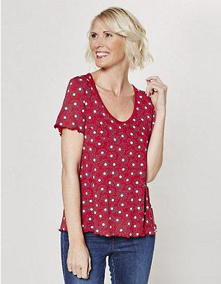 Deerberg Jersey-Shirt Sirin rot-groß-geblümt