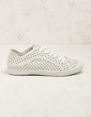 Deerberg Veloursleder-Sneaker Aylin weiß-grün