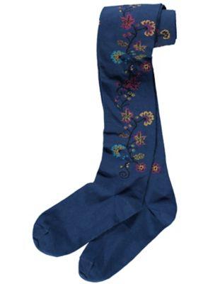 Crönert Strumpfhose Blumenranke, blau