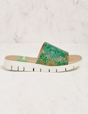 Deerberg Pantoletten Fabrisa grün-bunt