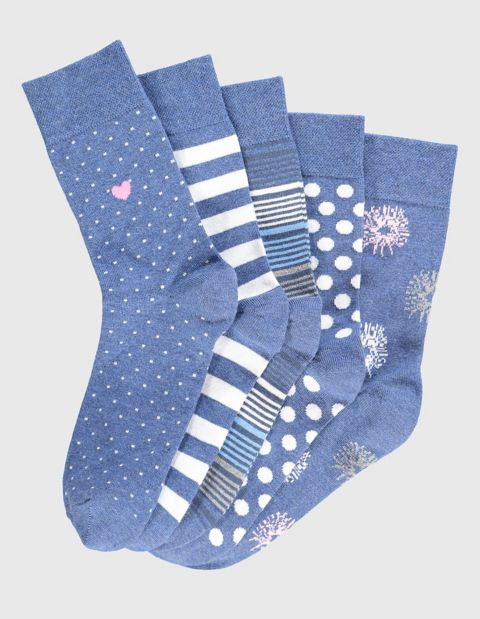 5er Pack Socken Jeans Fashion, Blau