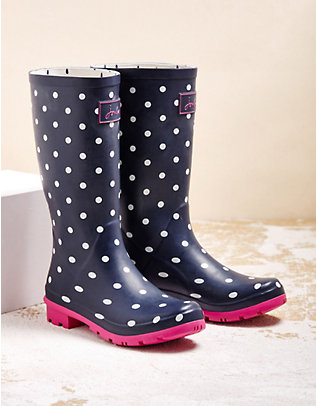 Joules Stiefel Roll Up Welly marine-gepunktet