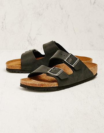 Birkenstock Leder-Pantoletten Arizona schwarz