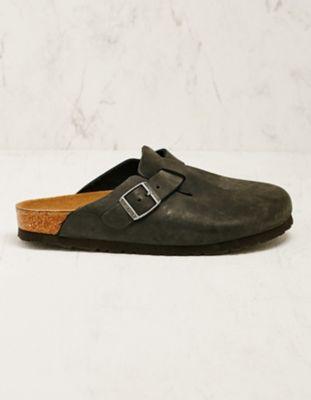 Birkenstock Leder-Pantoletten Boston schwarz