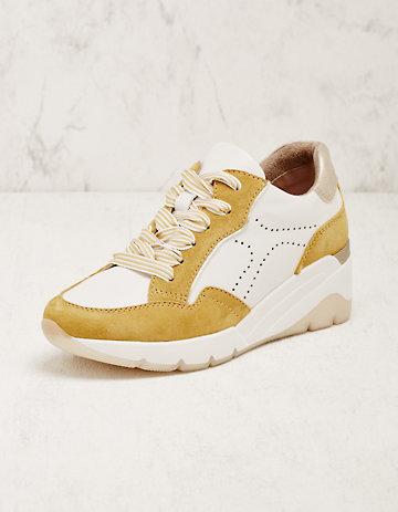 Jana Leder-Sneaker Abiona gelb