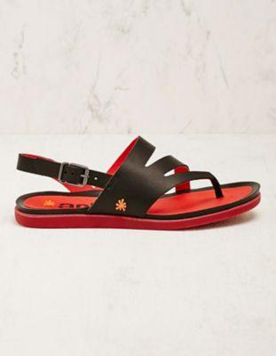 art Leder-Sandalen Amsina schwarz-rot