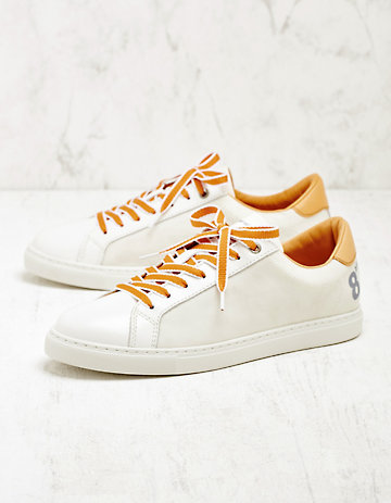8 beaufort.Hamburg Leder-Sneaker Stefana weiß-gelb