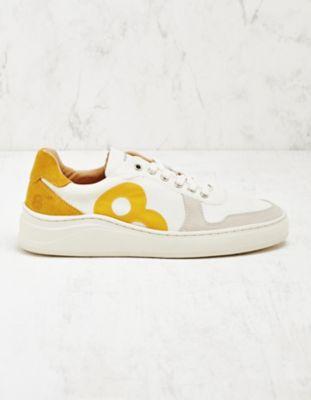 8 beaufort.Hamburg Leder-Sneaker Elde weiß-gelb