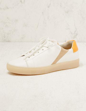 Paul Green Leder-Sneaker Elrike weiß-orange