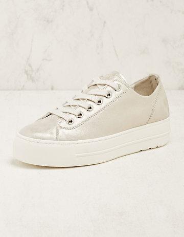 Paul Green Leder-Sneaker Binta silber