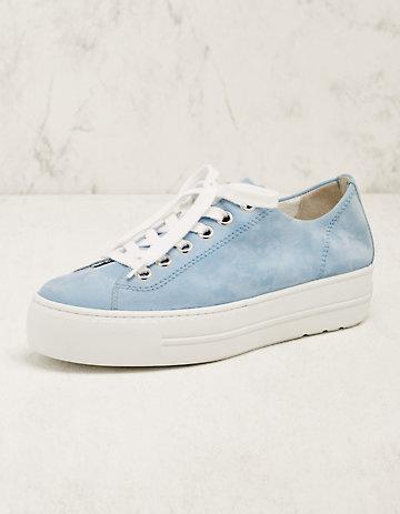 Paul Green Leder-Sneaker Binta hellblau
