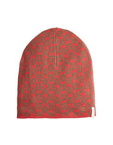 Deerberg Mütze Eluana rot-geblümt