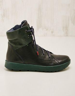 Think Leder-Sneaker-High Taira marine-petrol