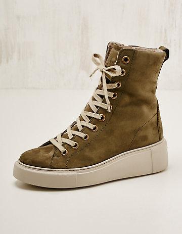Paul Green Leder-High-Sneaker gef. Klarisse oliv
