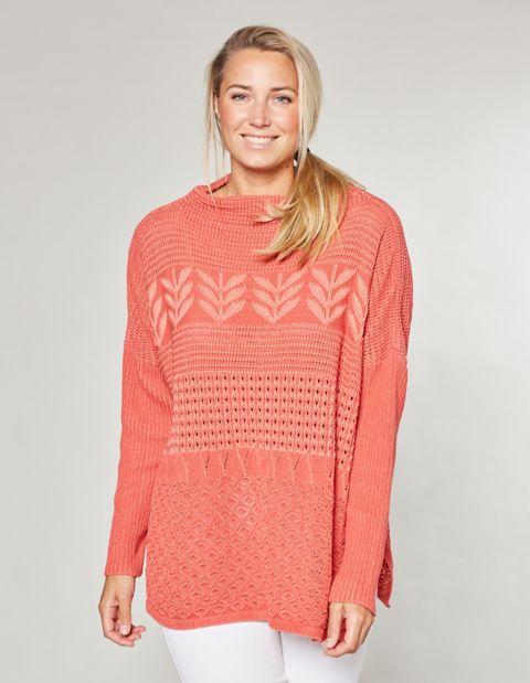 Image of Deerberg Ajour-Oversized-Pullover Duva, Rosa