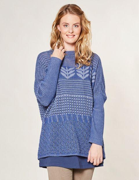 Image of Deerberg Ajour-Oversized-Pullover Duva, Blau