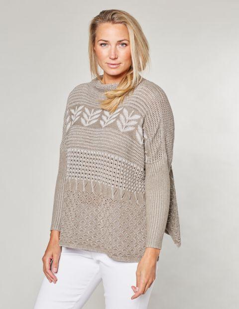 Ajour-Oversized-Pullover Duva, beige