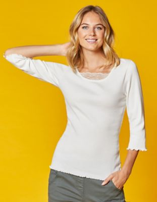 Deerberg Jersey-Shirt Gina cremeweiß