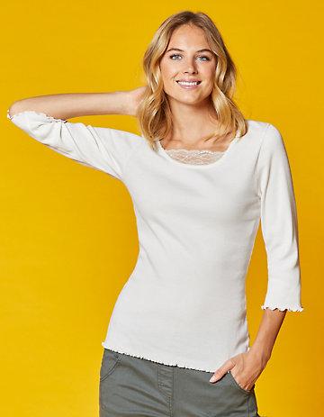 Deerberg Jersey-Shirt, 3/4-Arm Gina cremeweiß