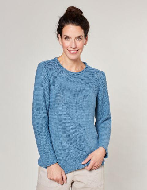 Image of Deerberg Baumwoll-Pullover Caren, Blau