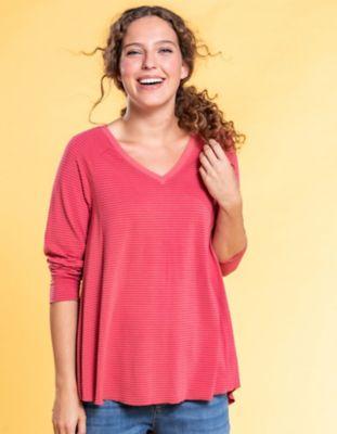 Deerberg Jersey-Shirt Danika nelkenrot-geringelt