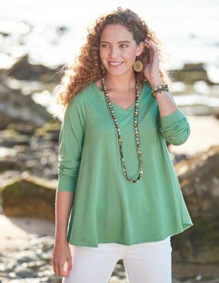 Deerberg Jersey-Shirt Danika grasgrün-geringelt