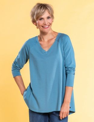 Deerberg Jersey-Shirt Danika taubenblau-geringelt