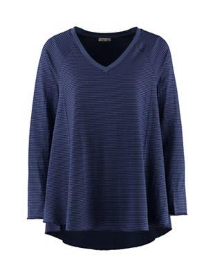 Deerberg Jersey-Shirt Danika blaubeere-geringelt