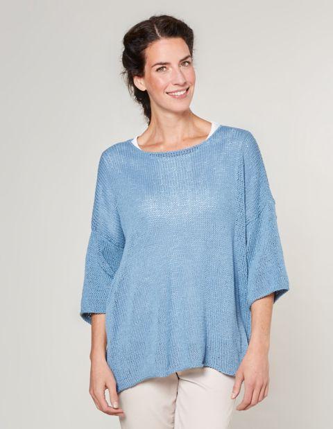 Image of Deerberg Baumwoll-Pullover Bilke, Blau