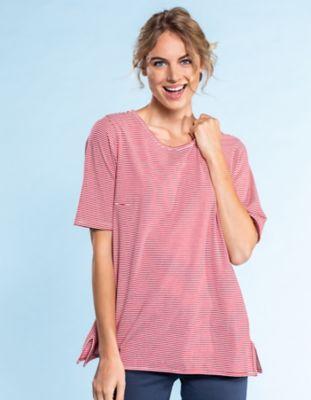 Deerberg Jersey-Shirt Deana rot-gestreift