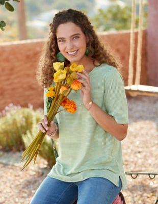 Deerberg Jersey-Shirt Deana grasgrün-gestreift