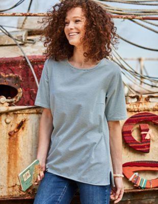 Deerberg Jersey-Shirt Deana taubenblau-gestreift