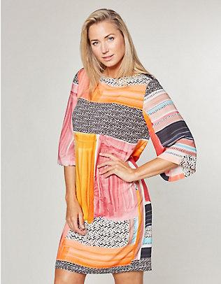 Deerberg Druck-Kleid Michelle orange-schwarz
